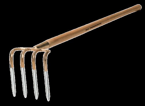 Handgeschmiedete Kartoffelhacke aus Stahl mit 4 Zinken, Holzstiel Esche,135 cm lang